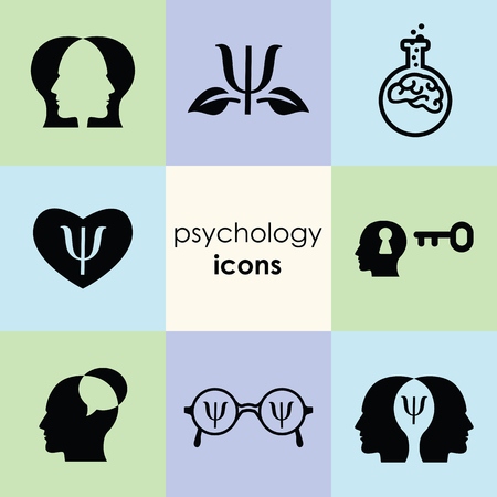 vector illustration of psychology icons template set