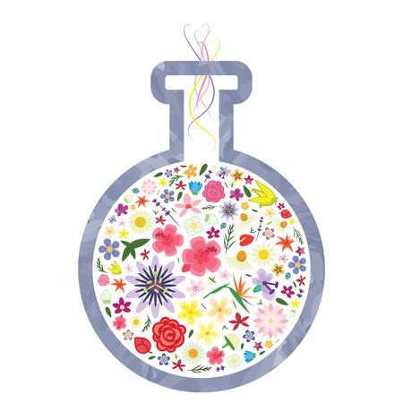 vector illustration of flask with flowers inside for perfume formula research or new fragrance development