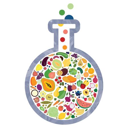 illustrazione vettoriale della boccetta di vetro con frutta e verdura per una sana alimentazione visiva dell'innovazione