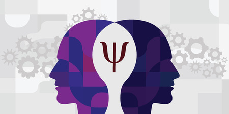vector illustration of two human head and psychology sign for interpersonal relationship visuals