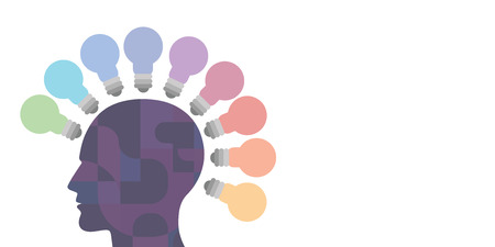 vector illustration of human head and bulbs around for intelligence development and problem solving skills visuals