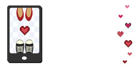 illustration vectorielle de deux paires de chaussures homme et femme sur l'écran du téléphone pour des visuels de relations interpersonnelles mobiles en ligne