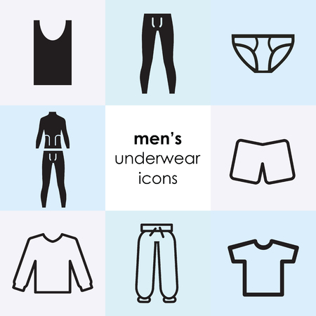 vector illustration of flat icon set with men underwear items
