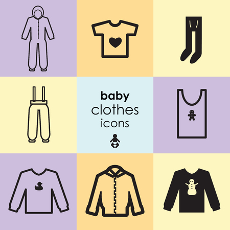 vector illustration of icon set with baby clothes including towel pants hoodies and overall outfit Illustration