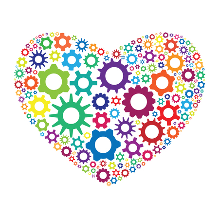 vector illustration of colorful gearwheels cogs and mechanism in heart shape design