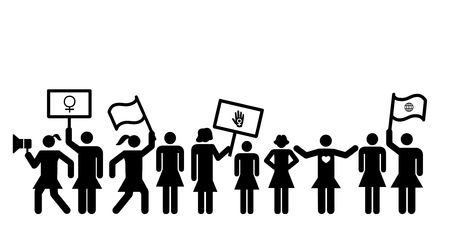 vector illustration of feminist meeting or protest with women holding girl power symbols