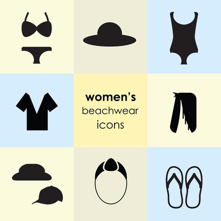 Ilustración vectorial de iconos de ropa de playa de mujer para colección de ropa de vacaciones