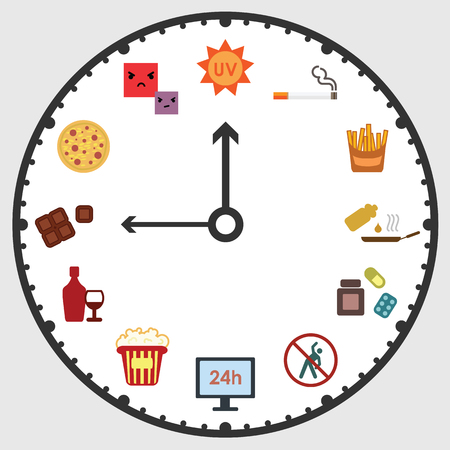 vector illustration of clock with bad habits visuals for unhealthy lifestyle concept
