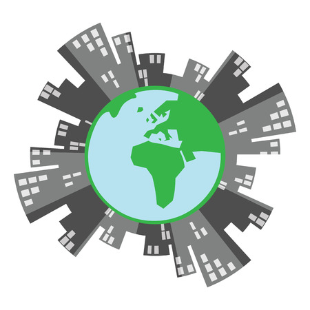 vector illustration of green earth globe and city buildings ring for sustainable urban management concept Stock Illustratie