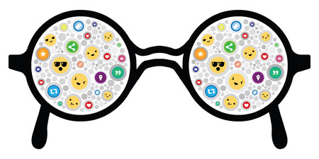 vector illustration of emotion faces and social media icons in glasses reflection Illustration