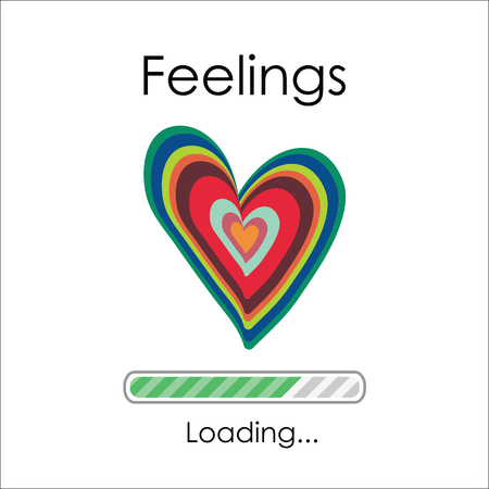 vector illustration of heart and loading bar for feelings visualization Illusztráció