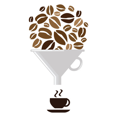 vector illustration with coffee beans and filter with cup for caffeine production industries Imagens - 113912596