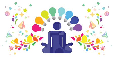 vector illustration of meditating person bulbs and swirls around for intelligence development and creative problem solving skills visuals