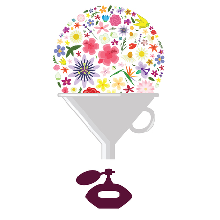 vector illustration of filter with flowers for perfume or fragrance formula research or scent production industry Ilustração