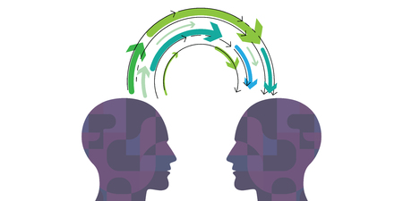 vector illustration of human head with arrows with supernatural mental connection for telepathy and knowledge exchange visuals Illustration