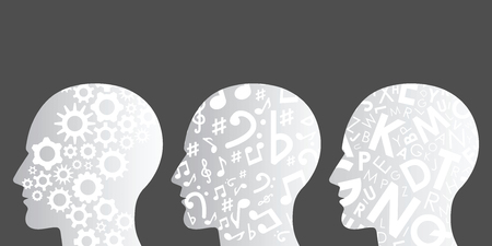 vector illustration of three human heads with different patterns for thinking styles visuals or various skills concept