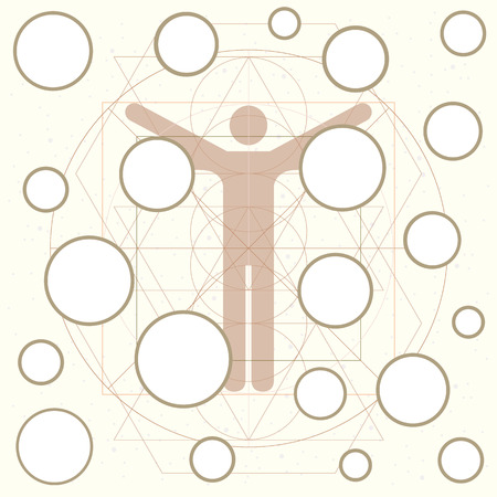 vector illustration of man icon in circle and square and empty circles for chart or diagram about human health or body visuals Standard-Bild - 113912608