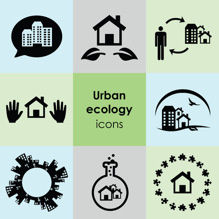 Ilustración vectorial de iconos de ecología urbana plana para la naturaleza en la apreciación de la ciudad y el concepto de gestión urbana sostenible