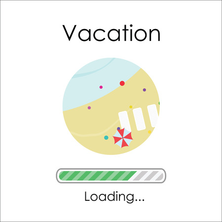 vector illustration of summer beach view and loading bar for vacation vibes feeling