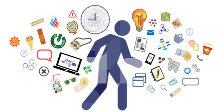 vector illustration of man silhouette and many items stationary activities around for multitasking concept Çizim