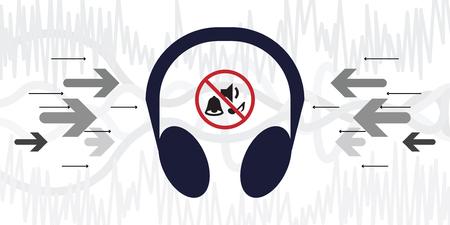 illustrazione vettoriale di cuffie per la riduzione del rumore con icona di annullamento dei suoni e onde musicali sullo sfondo Vettoriali