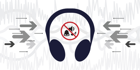 vector illustration of noise reduction headphones with sounds cancelling icon and music waves on background