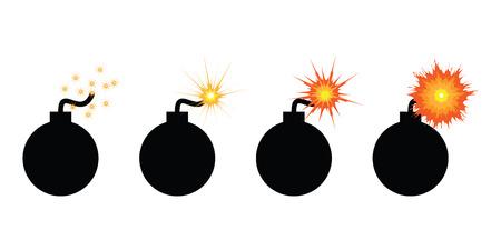 vector illustration of burning bomb in steps before explosion for urgent deadline concept
