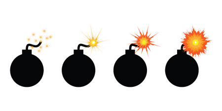 vector illustration of burning bomb in steps before explosion for urgent deadline concept