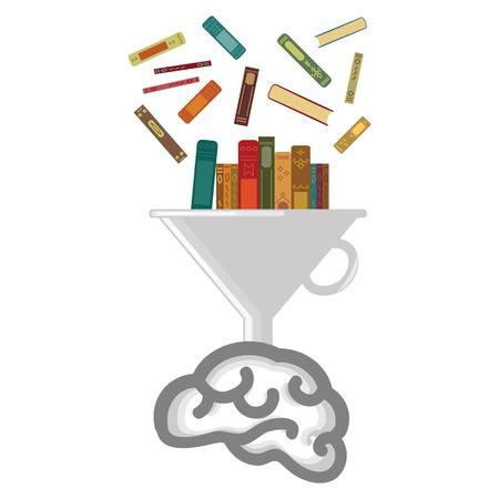 Ilustración vectorial del cerebro y los libros que pasan por el filtro para los conceptos de educación y aprendizaje
