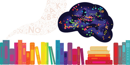 vector illustration of brain and colorful books for education and library concepts