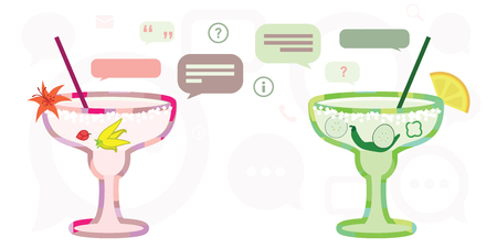 vector illustration of cocktails and chat boxes for relax and friendly talk in bar concept Ilustração