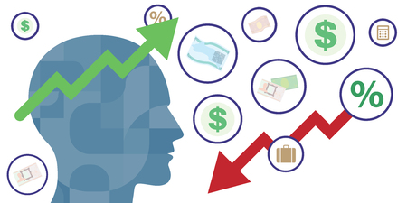 vector illustration money symbols and human silhouette for business thinking and neuroscience connect to financial studies