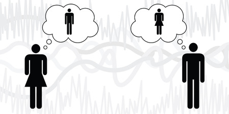 vector illustration of man and woman with speech bubbles or thoughts for relationship and gender issues Illusztráció