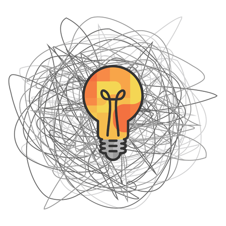 vector illustration of yellow bulb and messy sketched cloud for problem solving skills visual Çizim