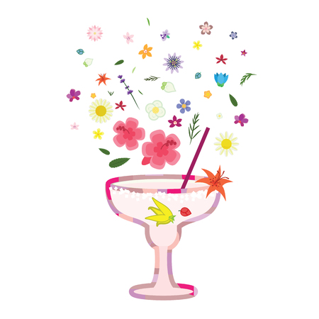 vector illustration for floral cocktail with pink flowers and leaves decoration