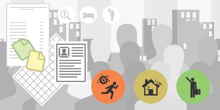 illustration vectorielle pour le statut de réfugié et le formulaire de demande d'asile processus de documents de procédure Vecteurs