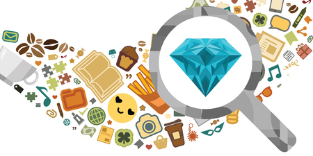 vector illustration of gem found with magnifier in messy cloud of stuff like stationary fast food and other things