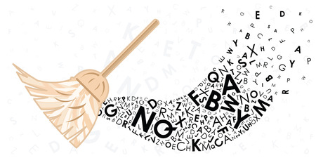 vector illustration of broom and swept away letters for text editing and data cleaning concept