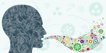 illustration vectorielle de bactéries et de virus se propageant de la bouche des personnes par l'air comme la grippe ou le rhinovirus