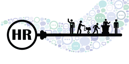 vector illustration of horizontal banner for human relations concept with key and people of different professions silhouettes