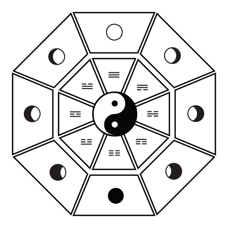vector illustration of Bagua Taoist eight symbols with hexagrams and moon phases in black and white