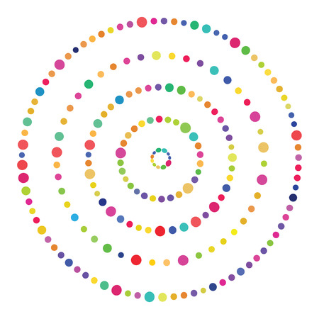 vector illustration for colorful dots concentric circles for focusing and concentration concept