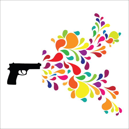 vector illustration of gun with colorful swirls for creativity burst or hand printer Çizim