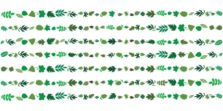 vector illustration of leaves in straight lines and rows for bright foliage geometrical backgrounds