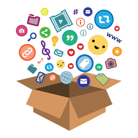 vector illustration of social media likes dropping into box for data storage and delivery Ilustracje wektorowe