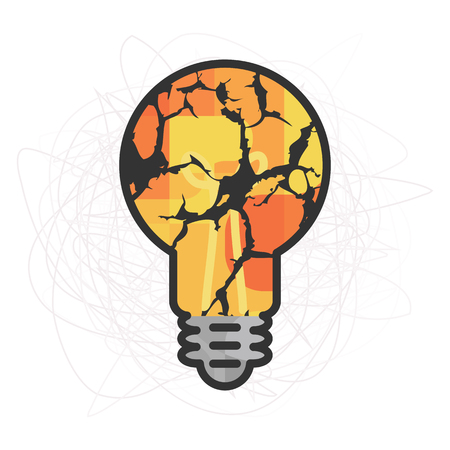 vector illustration of cracked yellow bulb and messy sketched cloud for problem solving skills visual