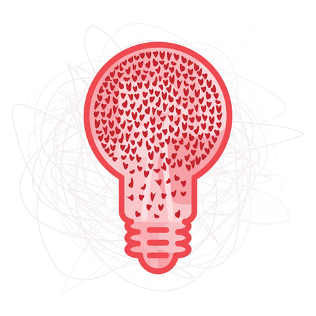 vector illustration of bulb with red hearts inside and messy background for complicated relationships solutions and therapy concept Çizim