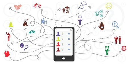 illustration vectorielle du téléphone portable et des flèches pour la sélection et les préférences de différentes activités de médias sociaux