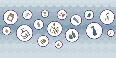 vector illustration of plastic containers in water waves for ocean pollution visuals
