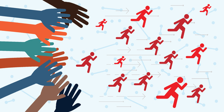 vector illustration of running people and hands trying to catch them Иллюстрация